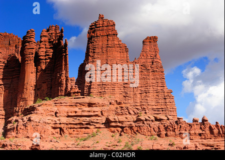 Fisher Towers in the Colorado River waterway near Moab in Utah, USA - Stock Photo