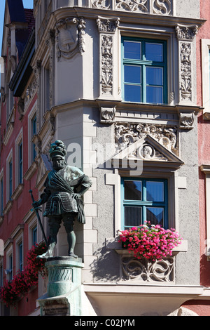 Statue of Georg von Frundsberg at the town hall, Mindelheim, Unterallgaeu district, Allgaeu region, Swabia, Bavaria - Stock Photo