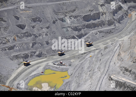 Special trucks, Bingham Canyon Mine or Kennecott Copper Mine, largest man-made open pit on earth, Oquirrh Mountains - Stock Photo
