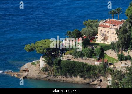 Luxury seaside villa, Roquebrune Cap Martin, Département Alpes Maritimes, Région Provence Alpes Côte d'Azur, France, - Stock Photo