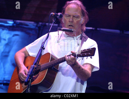 Neil Young performing at 'Farm Aid' on Randall's Island  New York City, USA - 09.09.07 - Stock Photo