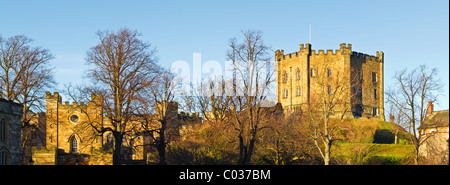 Durham Castle, a Norman built 'Motte and Bailey' style castle. It is now used by Durham University - Stock Photo
