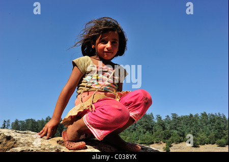 Girl, 8 years, Middle Atlas, Morocco, Africa - Stock Photo