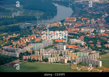 Aerial view, Ústí nad Labem, Czech Republic, Europe - Stock Photo