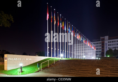 European flags in front of the main building of the Council of Europe, Strasbourg, Alsace, France, Europe - Stock Photo