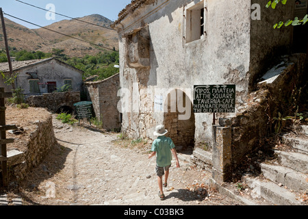 Ruins in Paleo Perithia, deserted village, north east Corfu, Corfu Island, Ionian Islands, Greece, Southern Europe, - Stock Photo