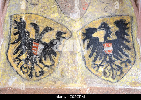 Painted coat of arms on a wall in the Kloster Alpirsbach monastery, Freudenstadt district, Baden-Wuerttemberg, Germany, - Stock Photo