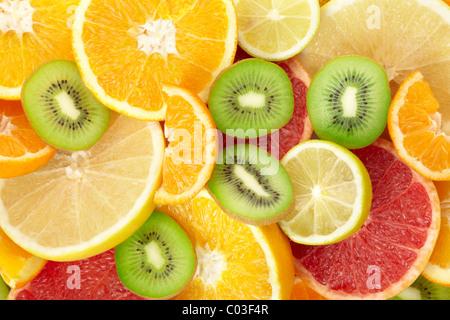 Citrus fruits background - Stock Photo
