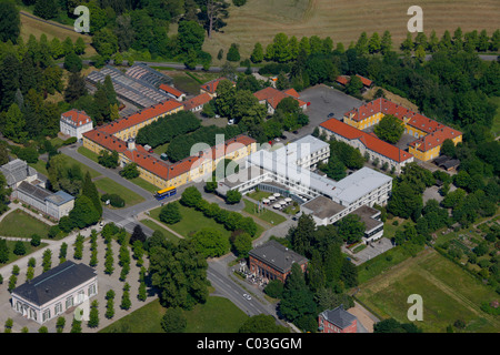 Aerial view, Schlosshotel Wilhelmshoehe, Bergpark Wilhelmshoehe mountain park, Kassel, Hesse, Germany, Europe - Stock Photo