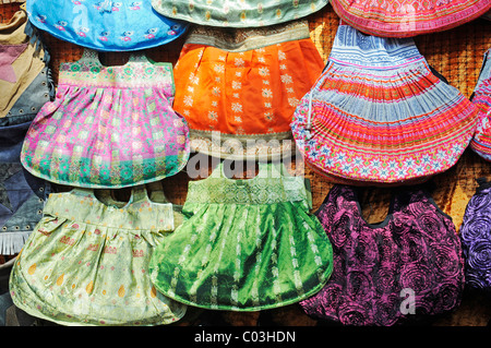 Colourful handbags, fabric, Las Dalias hippy market, Sant Carles de Peralta, San Carlos, Ibiza, Pityuses, Balearic - Stock Photo