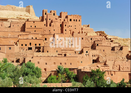 Mud-brick city of Ksar Ait Benhaddou with many Kasbahs, residential castles of the Berbers, built interconnected - Stock Photo