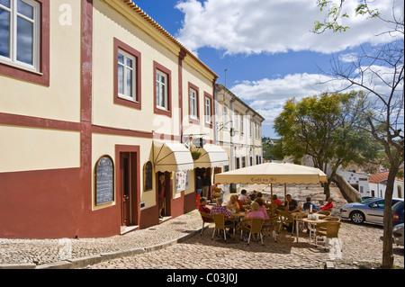 Street café near Sé Cathedral, Silves, Algarve, Portugal, Europe - Stock Photo