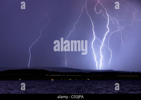 Thunderstorm and lightning at night on Lake Constance, Germany, Europe - Stock Photo