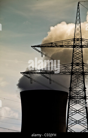 Cooling tower of the E.ON nuclear power plant, Grafenrheinfeld, Schweinfurt, Bavaria, Germany, Europe - Stock Photo