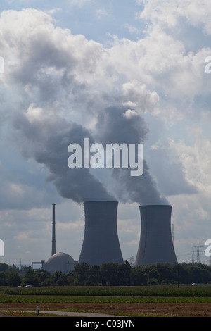 Cooling towers of the E.ON nuclear power plant, Grafenrheinfeld, Schweinfurt, Bavaria, Germany, Europe - Stock Photo