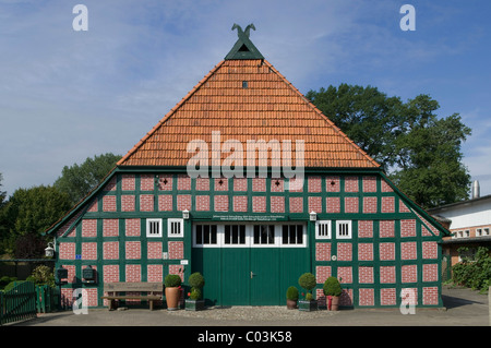 Amtsschreibershof, scribe's building, built in 1793, restored half-timbered building, Wuemme Rothenburg district, - Stock Photo
