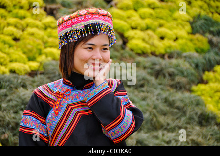 Tourist wearing a traditional costume, Sapa, Vietnam, Asia - Stock Photo