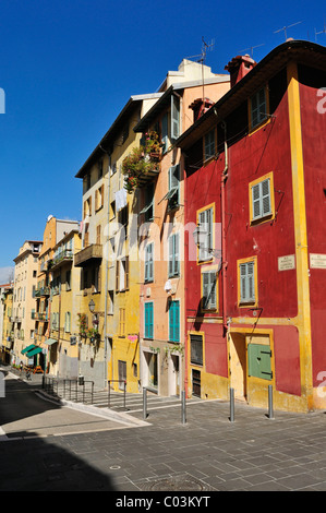 Colorful houses in the old town of Nice, Department Alpes-Maritimes, Region Provence-Alpes-Côte d'Azur, France, - Stock Photo