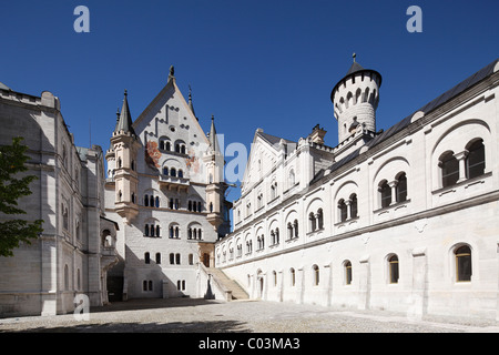 Courtyard of Schloss Neuschwanstein Castle, Ostallgaeu, Allgaeu, Schwaben, Bavaria, Germany, Europe - Stock Photo