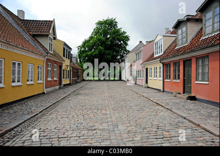 Houses located in the historic district, Odense, Funen island, Region Syddanmark, Region of Southern Denmark, Denmark, - Stock Photo