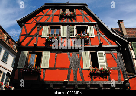 Old Alsatian half-timbered facade, 1 Rue de Juifs, Ribeauvillé, Alsace, France, Europe - Stock Photo