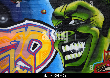 Graffiti on a wall, Rummelsburger Bucht, urban development area, Berlin Lichtenberg district, Berlin, Germany, Europe - Stock Photo