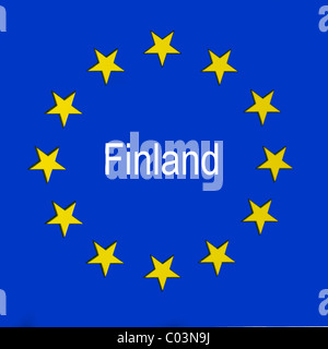 Finland in the European union flag - Stock Photo