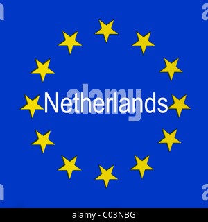 Netherlands in the European union flag - Stock Photo