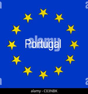 Portugal in the European union flag - Stock Photo