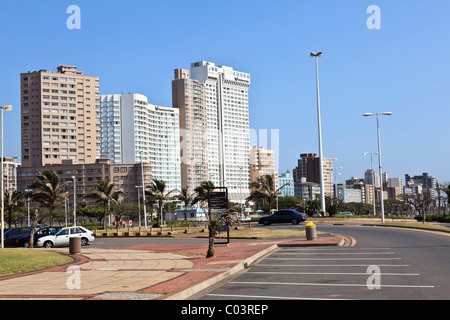Hotels on Durban's golden mile a popular tourist destination in South Africa - Stock Photo