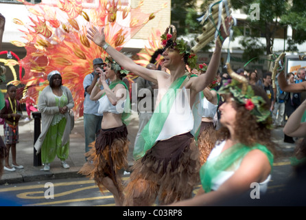 Street performers at the Notting Hill Carnival 2010, London - Stock Photo