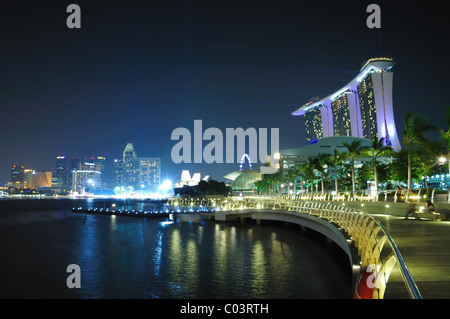 The Marina Bay Sands Hotel and Integerated Resort as viewed from the Marina Bay Promontory. - Stock Photo