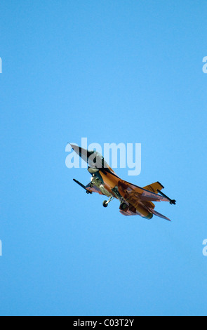 f-16 fighter ,royal air force base leuchars, scotland - Stock Photo