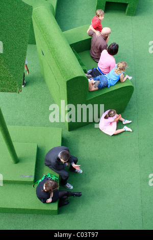 Green sitting room, National Theatre, London - Stock Photo