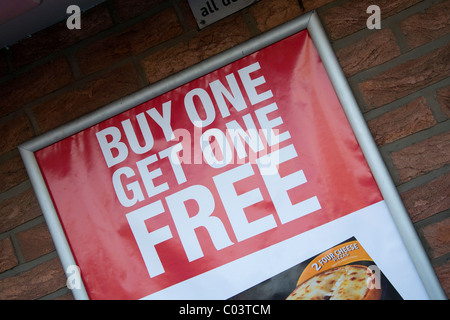 Buy one Get One Free Cooperative Food Sign, outside Shop, Banks, Southport, Merseyside, UK - Stock Photo