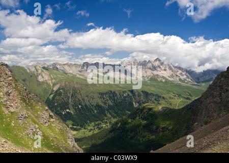 summer view of San Pellegrino Valley with Monzoni mountain in val di Fassa, Italian dolomites. Photo taken with - Stock Photo