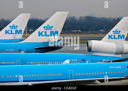Air France KLM planes on the apron of Amsterdam Schiphol Airport - Stock Photo