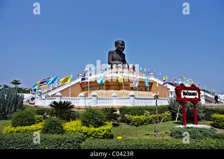 The giant statue of revered monk Luang Pu Thuat at Wat Huay Mongkol Hua Hin Thailand Asia measuring some 31.5 feet - Stock Photo