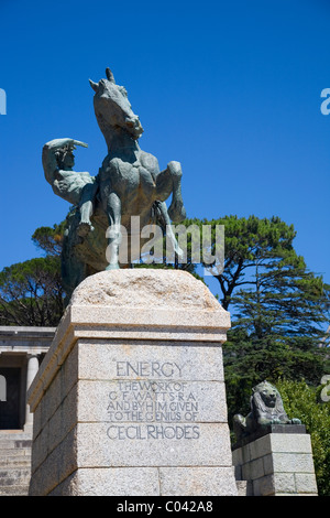Rhodes Memorial, the 'Energy' statue (man on horseback)in Cape Town - Stock Photo