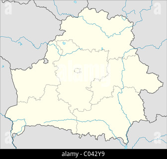 Illustrated map of the country of Belarus in Europe. - Stock Photo