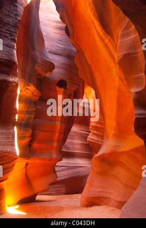 Beautiful games of colors and light at Upper Antelope Canyon, Arizona - Stock Photo