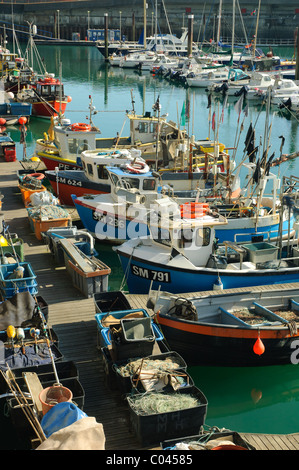 Fishing boats moored in Brighton Marina harbour, UK - Stock Photo
