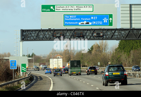 M27 motorway westbound approaching the Cosham and Portsmouth exits southern England UK - Stock Photo