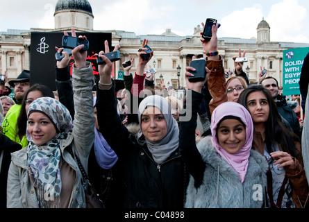 Egyptian Victory celebration organized by Amnesty International in Trafalgar Square London UK 12.02.2011 - Stock Photo