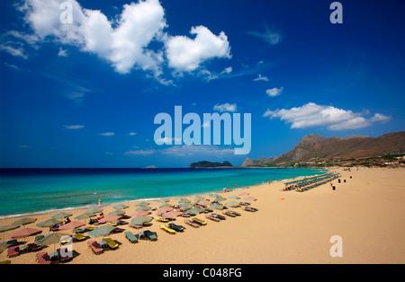 Falassarna (or 'Falasarna') beach on the northwest of Crete in Hania prefecture, Greece - Stock Photo