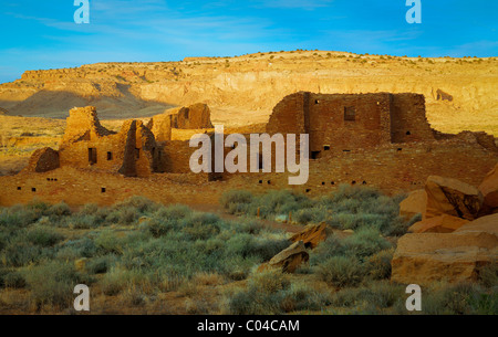 Pueblo Bonito in in Chaco Culture National Historical Park - Stock Photo
