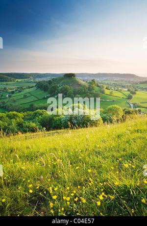 Downham Hill from Uley Bury. The Cotswolds. Gloucestershire. England. UK. - Stock Photo