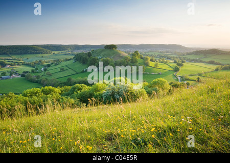 Downham Hill from Uley Bury. The Cotswolds. Gloucestershire. England. UK. - Stock Photo