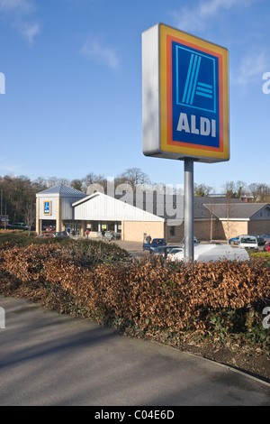 Aldi supermarket sign and the store at Catterick Garrison, North Yorkshire