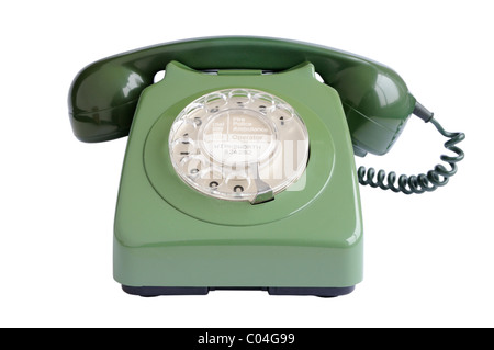 Old green telephone - Stock Photo